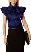 Karen Millen Super Frill Cotton Shirt, Navy