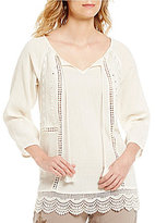 Intro 3/4 Sleeve Lace-Up Neck Peasant Top