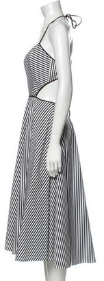 Michael Kors Striped Midi Length Dress Black