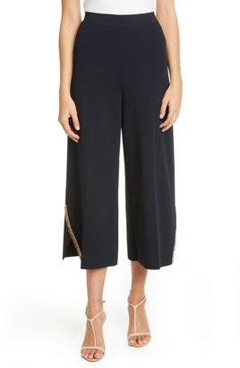 Stella McCartney Embellished Compact Knit Wide Leg Crop Pants