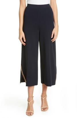 Stella McCartney Embellished Compact Knit Wide Leg Crop Pants