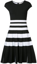 Carolina Herrera pleated stripe knit dress - women - Polyamide/Polyester/Spandex/Elastane/Viscose - M