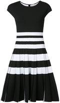 Carolina Herrera pleated stripe knit dress - women - Viscose/Polyester/Polyamide/Spandex/Elastane - L