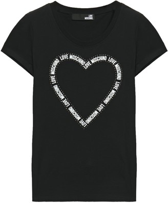 Love Moschino Crystal-embellished Printed Cotton-blend Jersey T-shirt