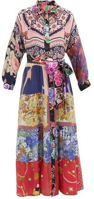 RIANNA + NINA Vintage Patchwork Silk Maxi Shirt Dress - Multi