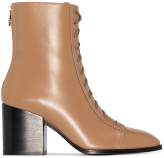 AEYDĒ Lace-Up 75mm Calf Leather Boots
