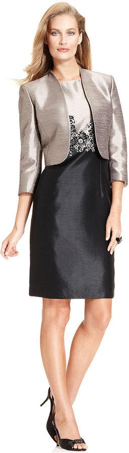Kasper Suit, Cropped Jacket & Colorblock Shantung Sheath
