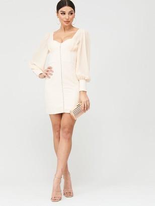 Lavish Alice Chiffon Mix Blouson Corset Mini Dress - Champagne