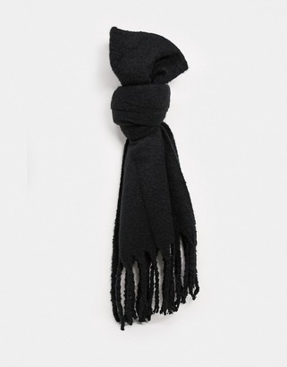 My Accessories London super soft scarf with tassels in black