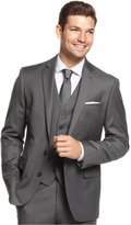Ryan Seacrest Distinction Grey Striped Slim-Fit Jacket