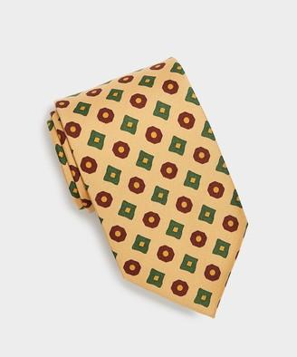 Drakes Madder Square Circle Tie in Tan