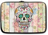 Cute Sugar Skull Floral Wood Pattern Picture Notebook Laptop Sleeve Case (two sides) - Macbook, Macbook Air/Pro 13 Inch Hot Sale Laptop Sleeve Case Bags
