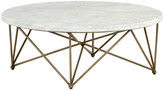 Sunpan 103515 Skyy Coffee Table, Round, Antique Brass, White Marble