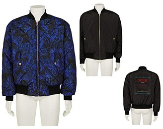 Versace Baroque Reversible Bomber Jacket (Blue/Black) Men's Clothing