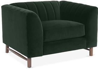 One Kings Lane Alden Club Chair - Forest Green Velvet