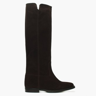 Lamica Brown Suede Pull On Knee Boots