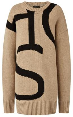 Joseph Wool Logo Intarsia Sweater