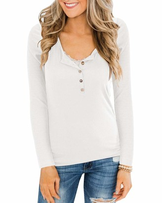 Ybenlover Women's V-Neck Henley T-Shirts Long Sleeve Ribbed Button Basic Tops Tee - White - M