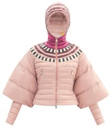 Moncler 1 Pierpaolo Piccioli - Alexis Colour-block Cape-sleeve Down-filled Jacket - Womens - Light Pink