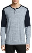 Vince Colorblock Long-Sleeve Henley Shirt, Navy