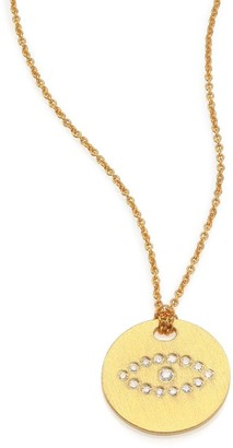 Roberto Coin Tiny Treasures Diamond & 18K Yellow Gold Evil Eye Disc Pendant Necklace
