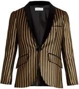 Sonia Rykiel Velvet-lapel lamé striped cotton-blend jacket