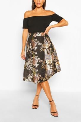 boohoo Floral Bodycon Midi Dress