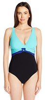 Christina Women's Colorblock D-Cup V-Neck One Piece Swimsuit