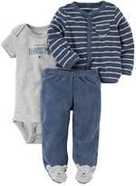 "Carter's Baby Boy Super Handsome"" Graphic Bodysuit, Striped Terry Cardigan & Footed Pants Set"