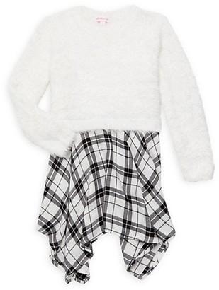 Design History Little Girl's & Girl's Plaid Sweater Dress