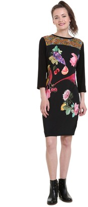 Desigual Floral Print Jersey Bodycon Dress with Long Sleeves
