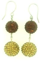 Pavel Steel Two-tone Chocolate and Champagne Pave Crystal Disco Ball Dangle Earrings with Stainless Steel Cable Chain Between Beads. Fishhook Dangle