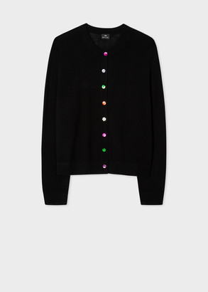 Women's Black Wool Cardigan With Colourful Buttons