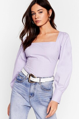 Nasty Gal Womens You Know We Square Puff Sleeve Blouse - Lilac