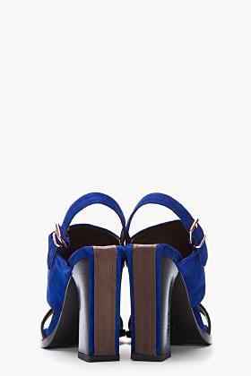 Veronique Branquinho Indigo blue and brown suede and leather heels