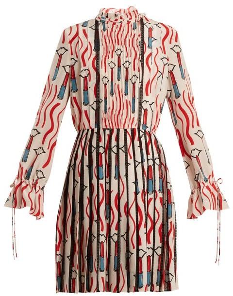 Valentino Lipstick Print Lace Trimmed Silk Dress - Womens - White Print
