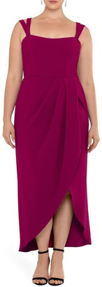 Xscape Evenings Side Ruched Double Strap Crepe Gown