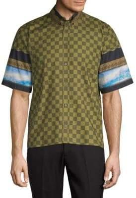 Givenchy Checkered Sky Short-Sleeve Cotton Button-Down Shirt