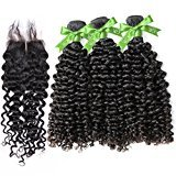 GoldRose Hair Grade 5A Brazilian Curly Wave 3 Bundles 28''28''28'' With Closure Middle Part 22'',Curly Wave Brazilian Virgin Hair With 4*4 Lace Closure,100%Unprocessed Virgin Human Curly Weave Hair Bundles