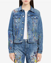 Calvin Klein Jeans Cotton Paint Splatter Denim Jacket