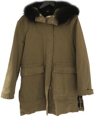 Pinko Khaki Rabbit Coat for Women