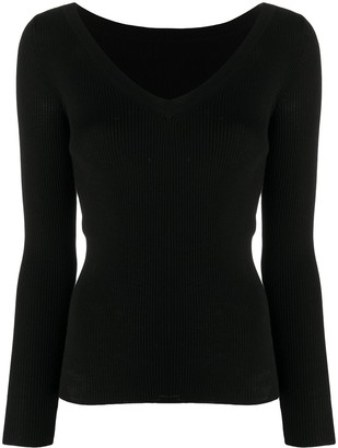 P.A.R.O.S.H. ribbed-knit V-neck jumper