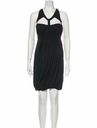 Versace V-Neck Knee-Length Dress w/ Tags Black