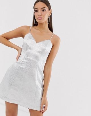 The Girlcode glitter jacquard mini skater dress in silver