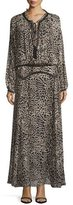 Roberto Cavalli Leopard-Print Drop-Waist Maxi Dress, Brown/Black