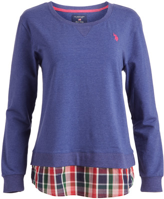 U.S. Polo Assn. Women's Tee Shirts DDBH - Crewneck Plaid Long-Sleeve Top - Women