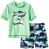 Carter's Toddler Boy Sharks Graphic Rashguard & Swim Trunks Set