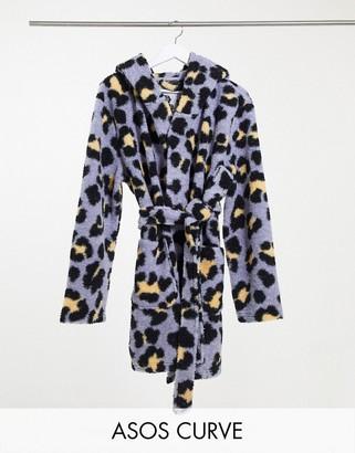 ASOS DESIGN Curve animal mini robe in purple