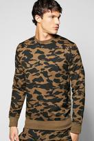 Boohoo Camo Crew Neck Sweater