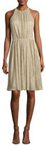 Halston Sleeveless Textured Metallic Cocktail Dress, Pale Gold
